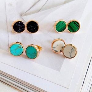 Jewelry - NEW Gold Round White Marble Stud Earrings
